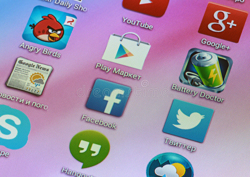 Popular icons social networking. Moscow, Russia - February 27, 2014: Popular icons social networking, gaming and entertainment resources on the smartphone screen royalty free stock photos