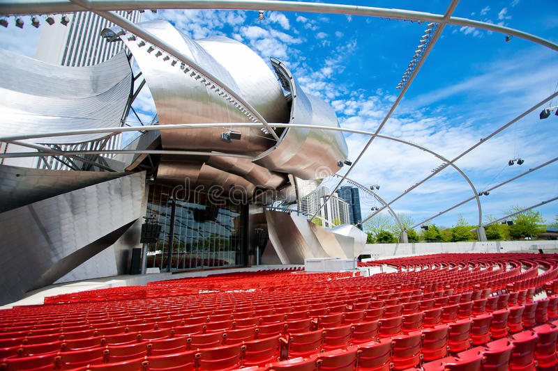 The popular Jay Pritzker Pavilion in Millennium Park in downtown Chicago. royalty free stock photography