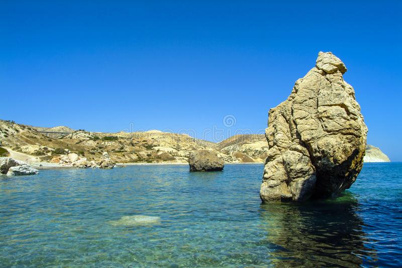 The Rocks of Aphrodite, on the Mediterranean Island of Cyprus royalty free stock image