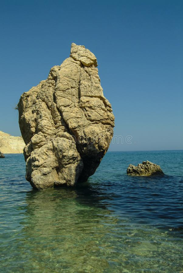 The Rocks of Aphrodite, on the Mediterranean Island of Cyprus stock image