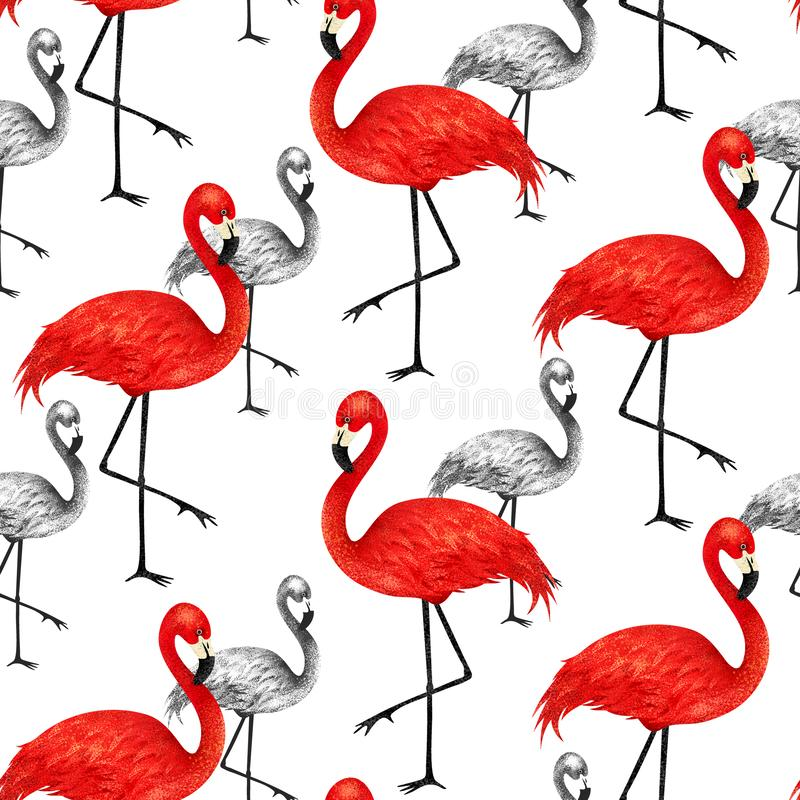 Popular modern style print with red and black flamingo. Trendy s stock illustration