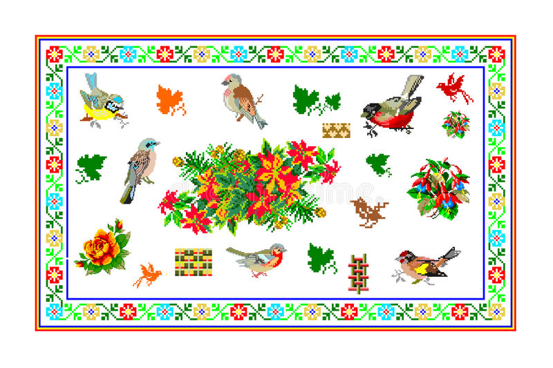 Popular motif, pattern, regular motif, tablecloth. Regular popular motifs. Can be used as carpet or tablecloth or a background for events stock photo