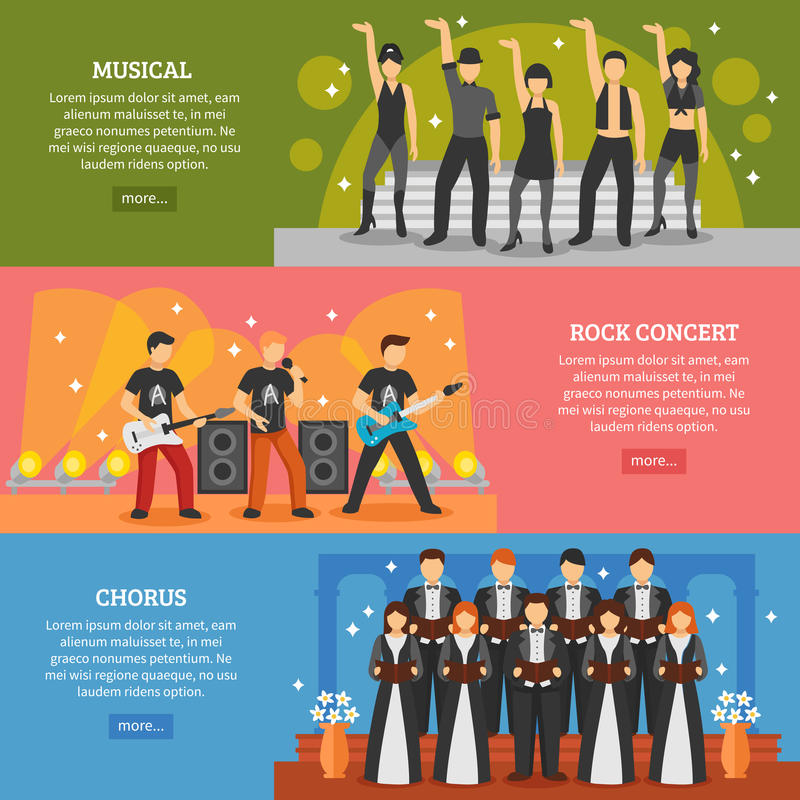 Popular Music Horizontal Banners. Theatre horizontal banners set of popular music performance with musical chorus rock actors flat vector illustration vector illustration