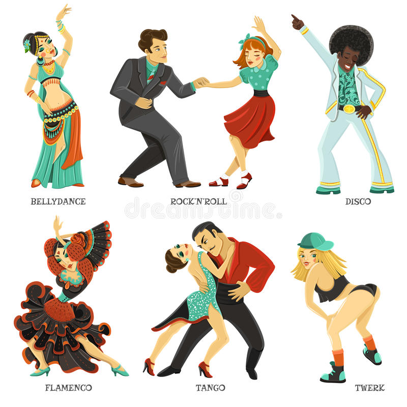 Popular Native Dance Flat Icons Set. Popular dance pair and individual flat icons set with twerk tango rock and roll vector illustration vector illustration