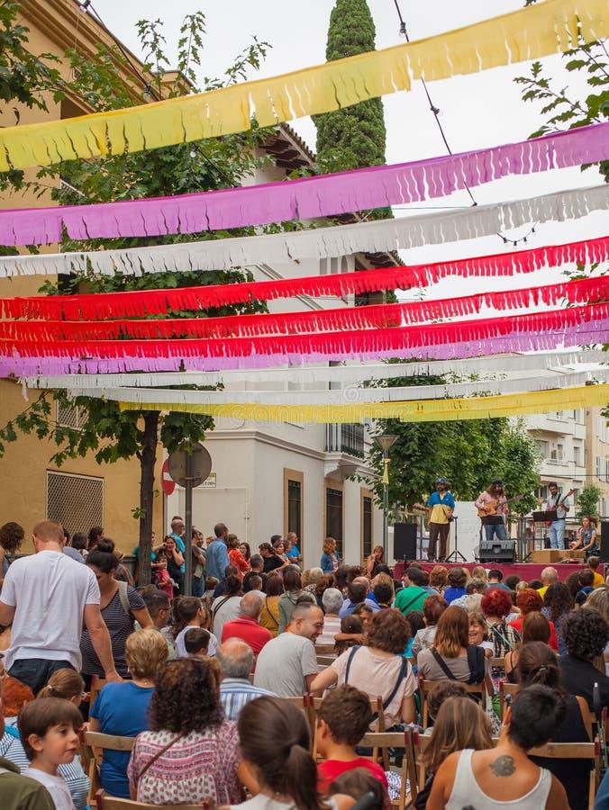 Popular neighbours street festival la Garriga town royalty free stock image