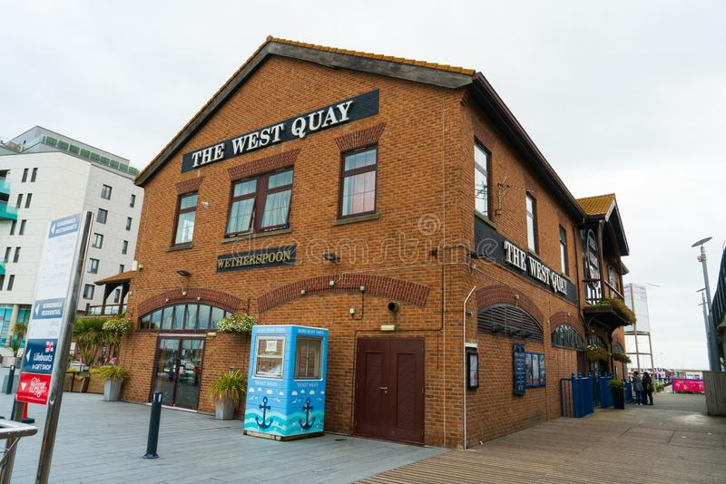 The popular place The West Quay wetherspoons pub and restaurant in Brighton Marina, Brighton, UK. Brighton, England-2 October,2018: The popular place The West stock photo