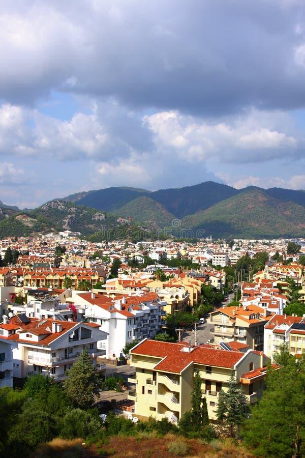 The popular resort city of Marmaris in Turkey. At coast of Aegean sea royalty free stock photography