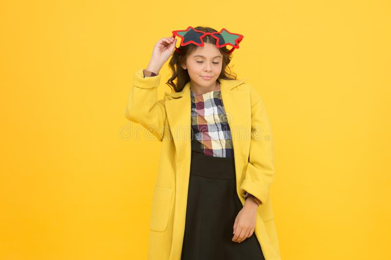 Popular schoolgirl. Carnival costume famous celebrity. Rock star. Party holiday celebration. Cheerful girl wear stock photo