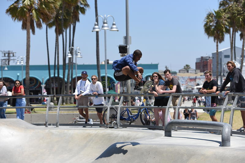 Popular skatepark on Venice Beach, CA royalty free stock images