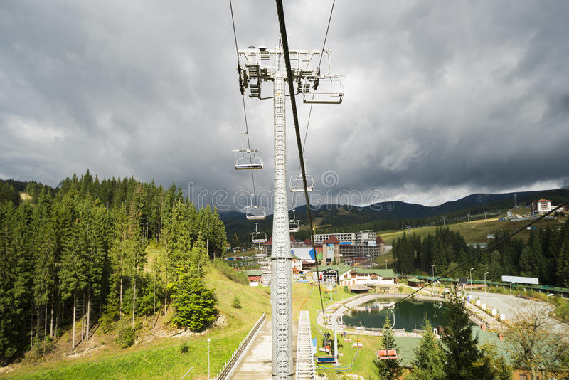 The popular ski resort in the autumn. Ukrainian Carpathians. stock image