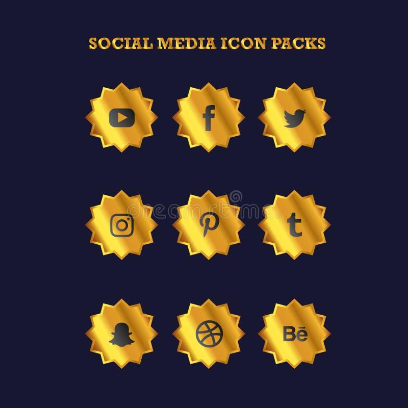 Popular Social Media Icon Packs Badge Gold Color stock illustration