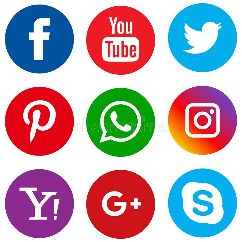 Popular social media icons set circle. Vector illustration of popular social media circle icons on white background royalty free illustration