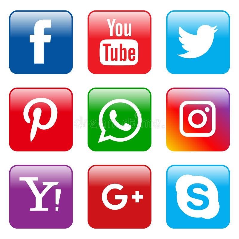 Popular social media icons set square. Vector illustration of popular social media square icons on white background royalty free illustration