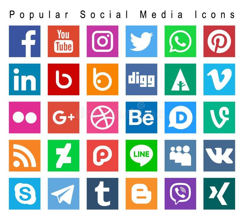 Popular social media icons. Vector illustration of popular social media colorful square icons on white background