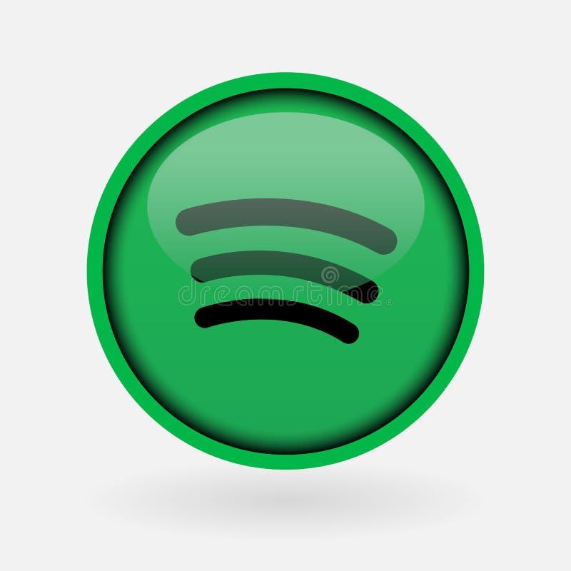 Popular social media music logo printed on white paper: Spotify. Istanbul, Turkey - March 2, 2019: Popular social media music logo printed on white paper royalty free illustration