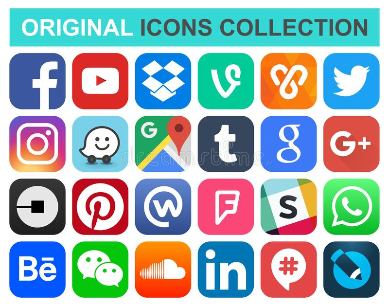 Popular social media and other icons. February 08, 2018: Popular social media and other icons: Facebook, Twitter, Instagram, Wechat, Pinterest and others stock illustration