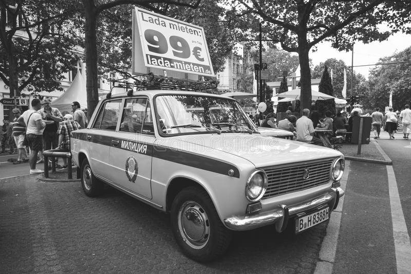 The popular Soviet car VAZ 2101 in the colors of the traffic police of the USSR. stock photos