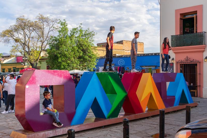 Popular spot for pictures at Oaxaca, Mexico. Oaxaca city in Mexico is famous for its modern art production, crafts and original creation. In front of Santo royalty free stock photos