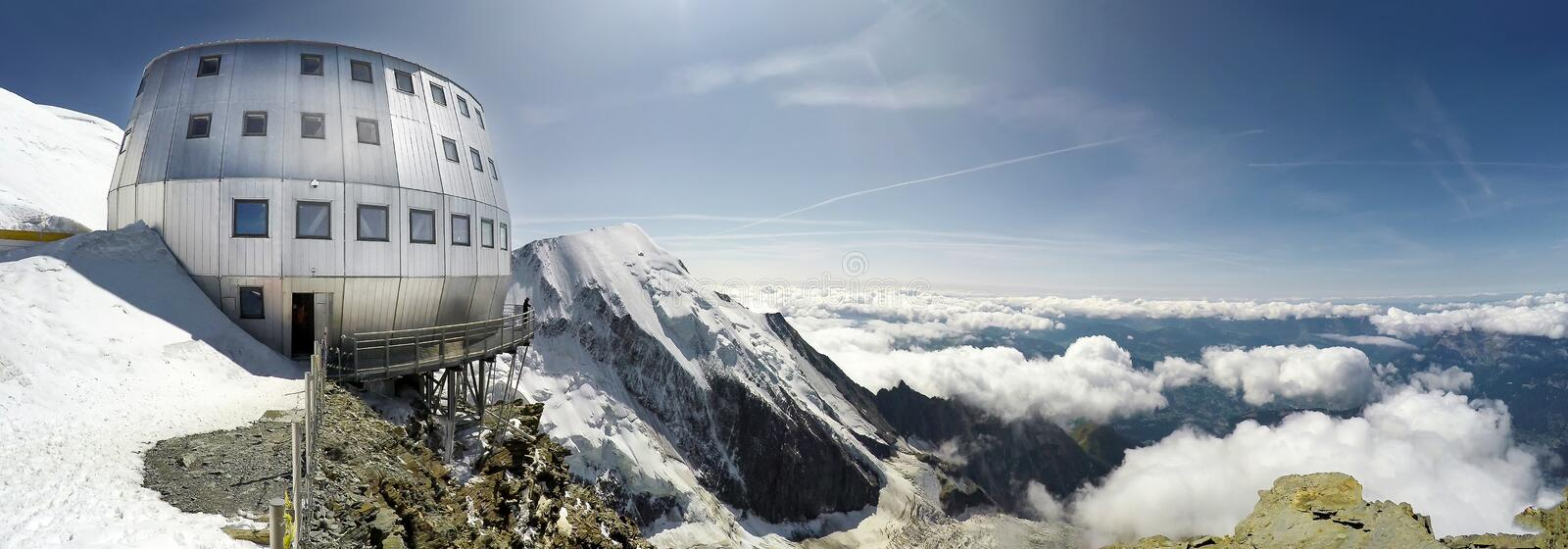 The popular starting point for attempting the ascent of Mont Blanc , France. Panorama of Refuge Du Gouter 3835 m, The popular starting point for attempting the royalty free stock photo