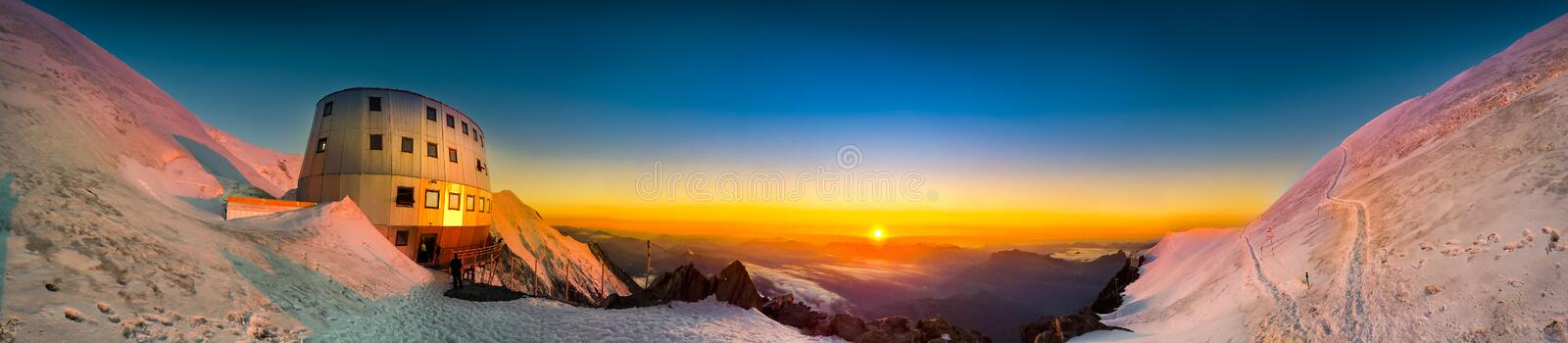 The popular starting point for attempting the ascent of Mont Blanc , France. Sunset panoramic view of refuge Du Gouter 3835 m, The popular starting point for stock images