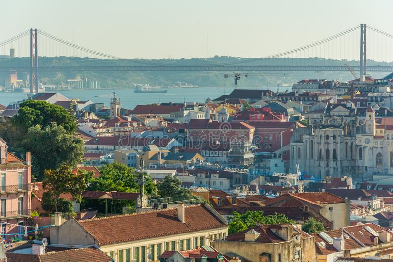 Panoramic late afternoon view from Miradouro da Graca in Lisbon, Portugal stock photography