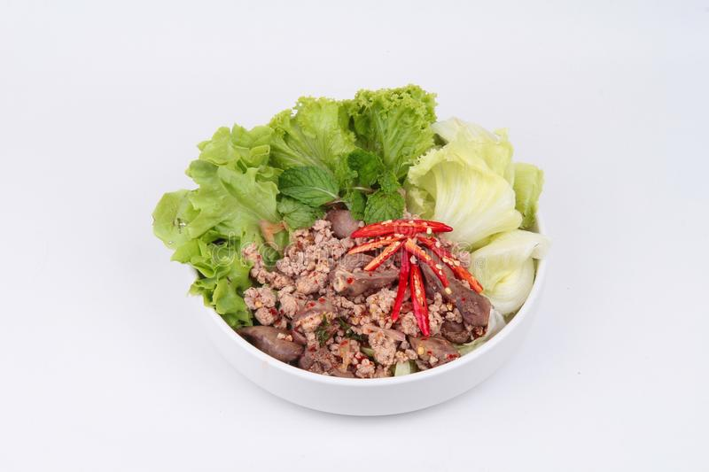 Spicy and sour mixed herb salad with minced pork and chicken. Popular Thai food ,Sliced grilled beef salad ,Spicy and sour mixed herb salad with minced pork and royalty free stock photos