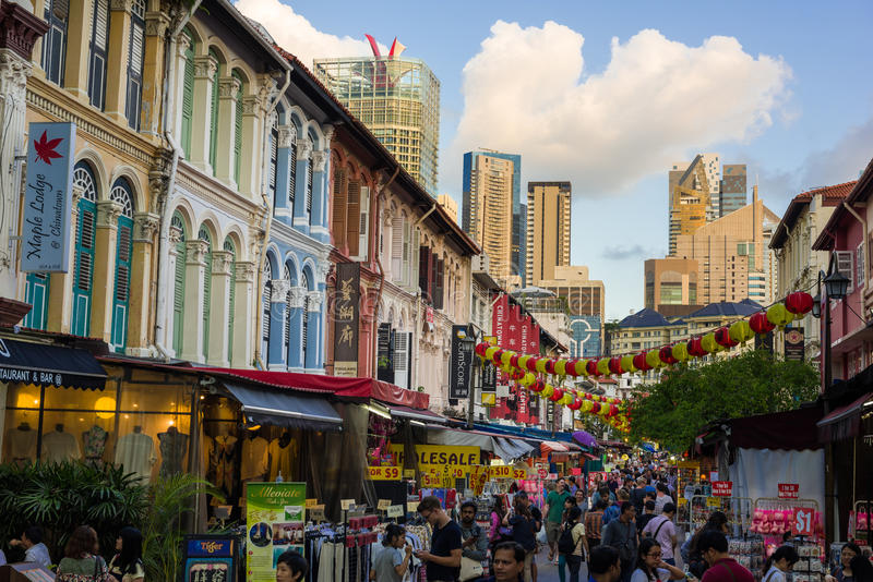 Popular tourist street in Chinatown stock photography