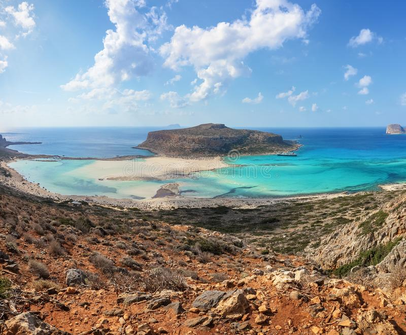 Popular touristic resort, coast of island Crete, Greece. Marvelous landscape of a rocky hill, Balos beach with fantastic sand. Popular touristic resort, coast royalty free stock photo
