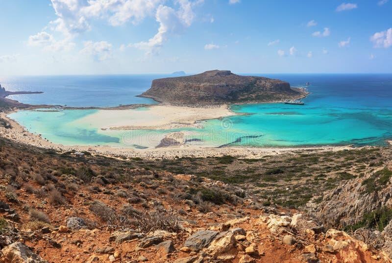 Popular touristic resort, coast of island Crete, Greece. Marvelous landscape of a rocky hill, Balos beach with fantastic sand. Popular touristic resort, coast stock photography