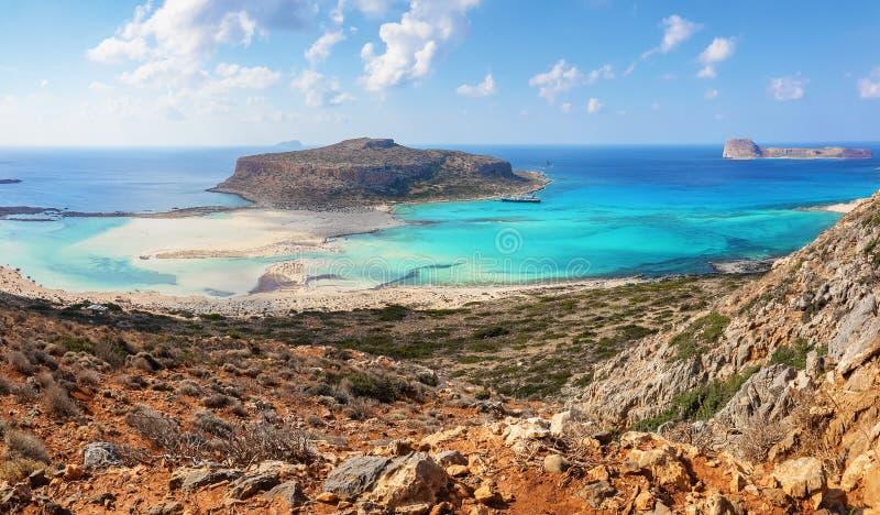 Popular touristic resort, coast of island Crete, Greece. Marvelous landscape of a rocky hill, Balos beach with fantastic sand. Popular touristic resort, coast stock images