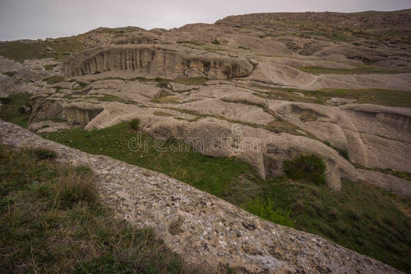 Fundament of old settlement uplistsikhe stock photos