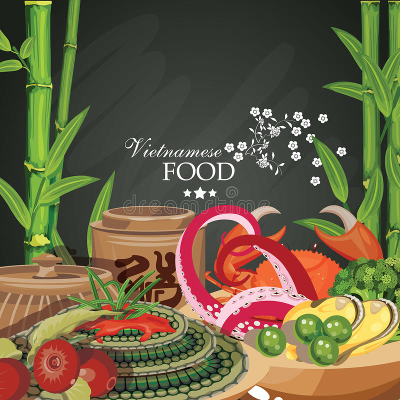 Popular vietnamese food. Poster for restaurant menu royalty free illustration