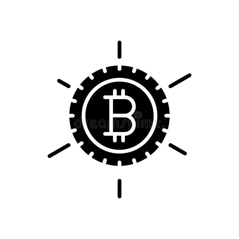 Popularitet av begreppet för bitcoinsvartsymbol Popularitet av symbolet för bitcoinlägenhetvektor, tecken, illustration stock illustrationer