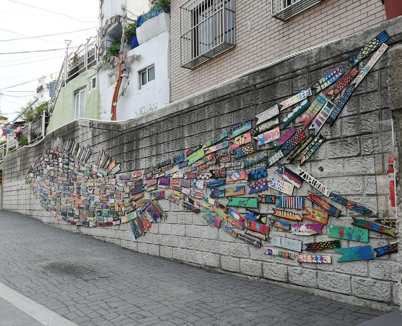 Gamcheon Cultural Village Street Art, Busan. Popularly known as the Santorini of Korea, Gamcheon cultural village is the most colorful village you would have royalty free stock photo