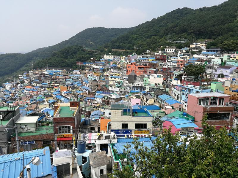 Gamcheon Cultural Village, Busan. Popularly known as the Santorini of Korea, Gamcheon cultural village is the most colorful village you would have ever seen. It stock images