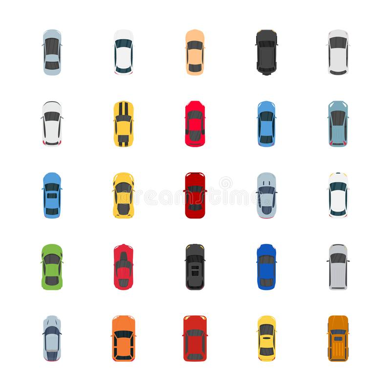 Popularne kolorów samochodów mieszkania ikony ilustracji