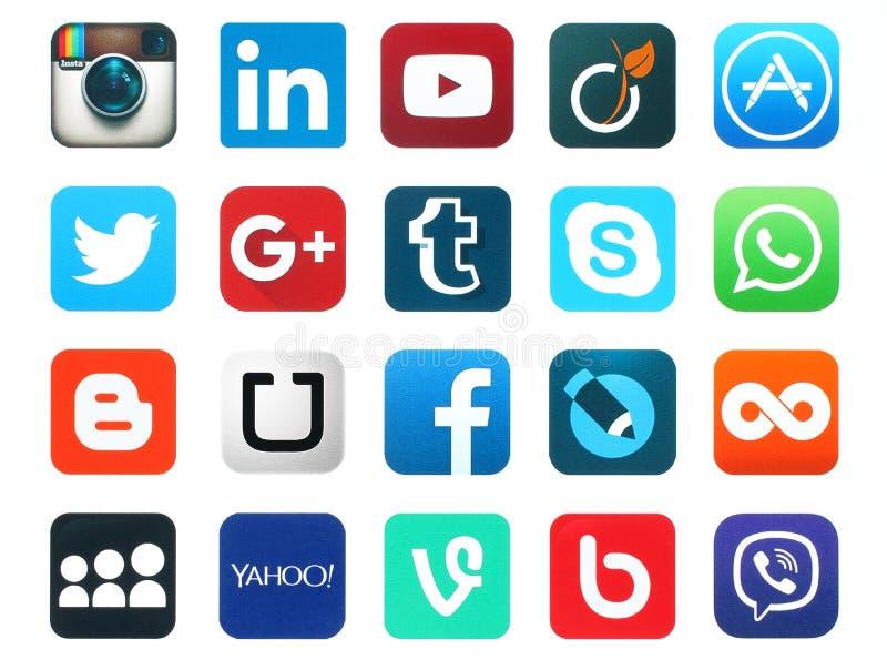Popularne ogólnospołeczne medialne ikony ilustracja wektor