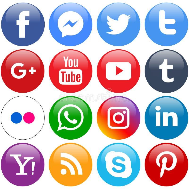 Popularne ogólnospołeczne medialne ikony ustawiają round ilustracja wektor