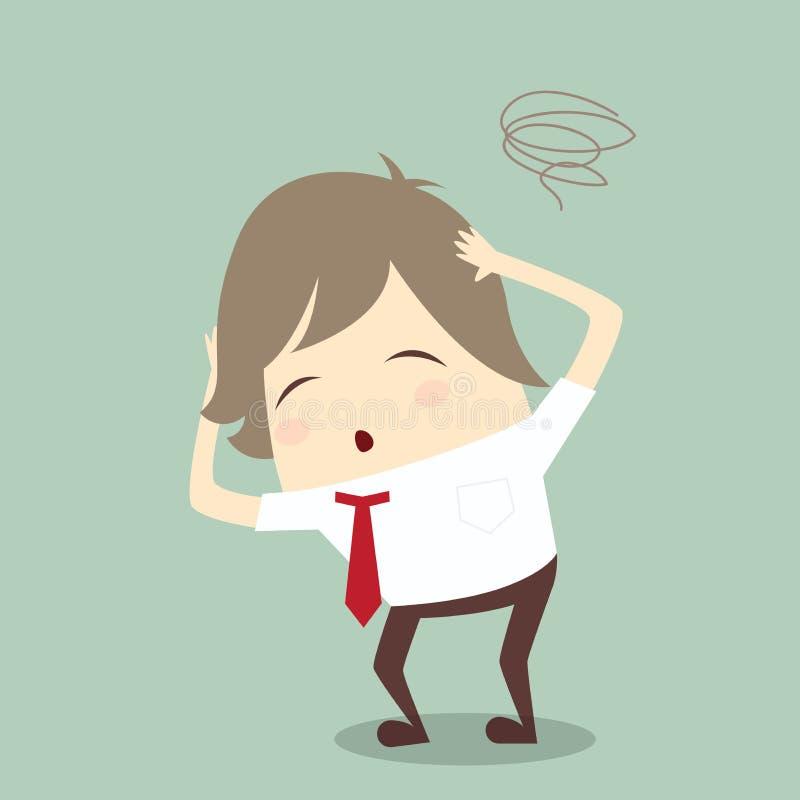 Popularnego biznesmena stresu poważny koncern wprawiać w zakłopotanie ciężką pracę ve ilustracji