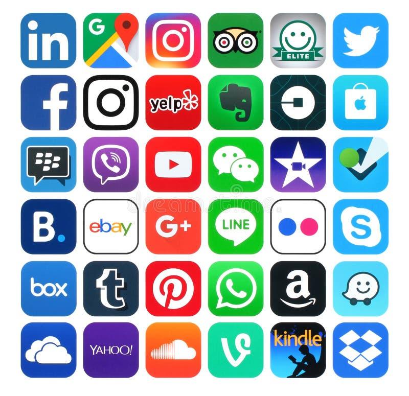 Popularni ogólnospołeczni środki, wideo i nawigacj ikony,