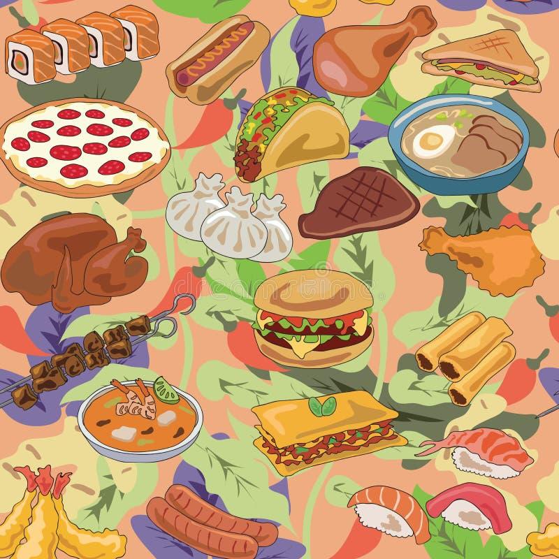 Popularny jedzenie różny kraju wzór royalty ilustracja