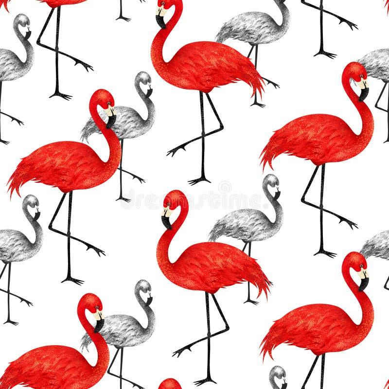 Popularny nowożytny stylowy druk z czerwonym i czarnym flamingiem Modny s ilustracji