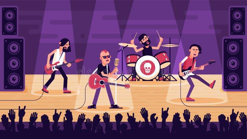 Popularny zespół rockowy wykonuje piosenkę na scenie ilustracji