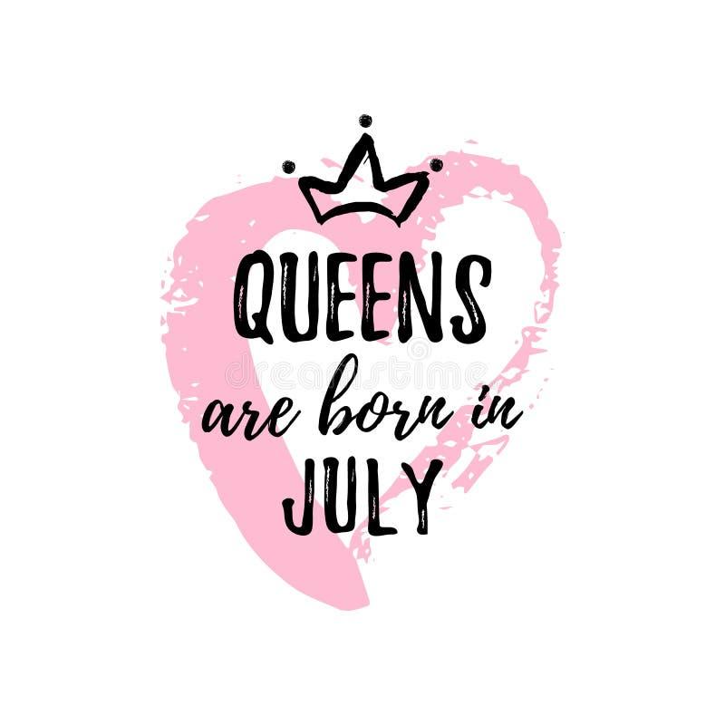 Popularny zwrota queens jest urodzony w Lipu z freehand sercem i koroną Szablonu projekt dla koszulki, kartka z pozdrowieniami ilustracji
