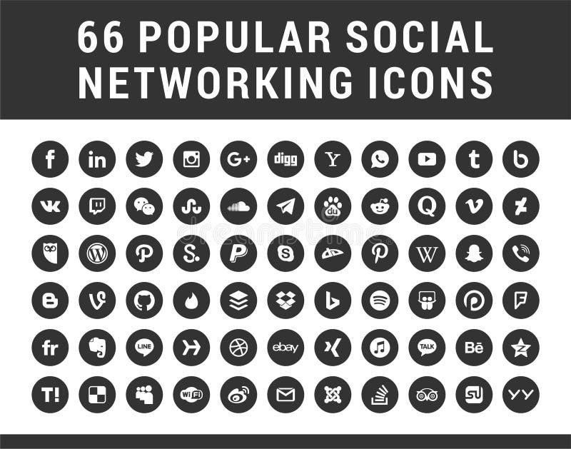 66 Popularnych Ogólnospołecznych środków, networking kółkowych kształtów ustalone ikony ilustracji