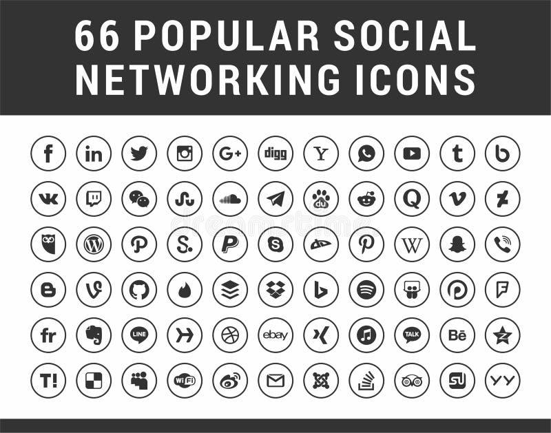 66 Popularnych Ogólnospołecznych środków, networking okręgu ustalone ikony ilustracja wektor