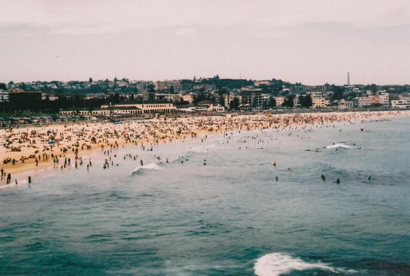 Populated beach with a lot of people enjoying a beautiful day royalty free stock images