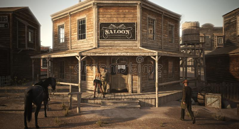 Populated western town saloon with various businesses . vector illustration