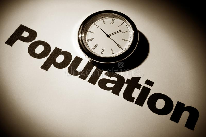 Clock and Population concept. Clock and word of Population for background royalty free stock photos