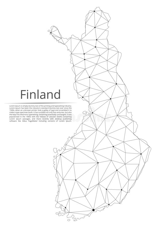 Finland communication network map. Vector low poly image of a global map with lights in the form of cities. Or population density consisting of points and shapes vector illustration